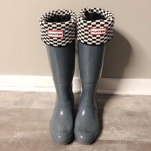 Hunter tall rain boots with hunter socks